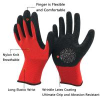 Buy cheap 13 Gauge Knitted Polyester Liner Coated Crinkle Latex Safety Gloves for Construction from wholesalers