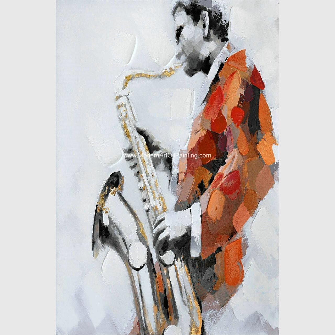 Buy cheap Custom Oil Painting Modern Abstract Art Handmade Canvas Saxophone Room Decor from wholesalers