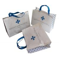 Buy cheap White and Blue 85gsm Nonwoven Fabric Carrier Bags With Matt Coated,White Piping,Button,Blue Handle Resable & Durable Bag from wholesalers