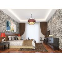 China Grey Vinyl Embossed Victorian Damask Wallpaper Removable , Tear - resistant on sale