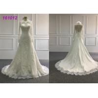 Buy cheap Vintage High Neck A Line Ball Gown Wedding Dress With Long Sleeves Zipper Back from wholesalers