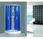 Buy cheap Framed Clear Corner Glass Shower Enclosure Sandblasted Blue Back Aluminum Panel from wholesalers