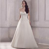 Buy cheap High Class Hot Slim Sweetheart A-line Floor-length Sleeveless lace-up Lace Wedding Gown Bridal Dress 2015 Free Shipping from wholesalers