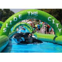 Buy cheap Long Giant Inflatable Bouncer Slide Double Lanes Green Inflatable Water Slide from wholesalers