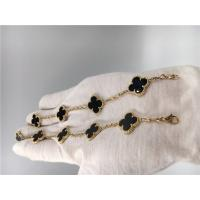 Buy cheap Vintage Van Cleef Flower Bracelet With 5 Motifs Onyx , 18k Gold Charm Bracelet from wholesalers