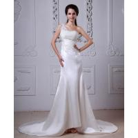 Buy cheap Lace Flower Satin One Shoulder Wedding Gowns with Long Train for Girls from wholesalers