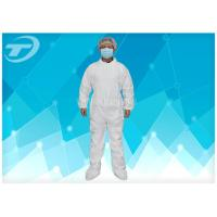 Buy cheap PE Coated Disposable White Coveralls / Disposable Protective Suits For Men S To 5XL from wholesalers