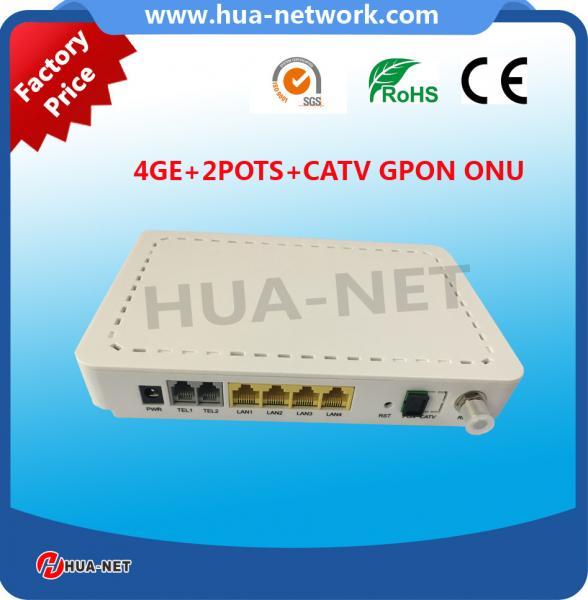 Quality Plastic white box 4GE+2POTS+CATV GPON ONU HGU TYPE FTTH ONU/Fiber optic ONU for sale