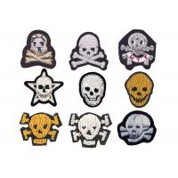 Buy cheap indian silk Colorful beads big bone skull embroidery patch handmade gold line sign stickers from wholesalers
