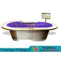 Professional Luxury Baccarat Poker Game Table With Chip Tray For 9 Players
