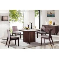 Buy cheap high quality 6 seater round wood dining table with marble top from wholesalers
