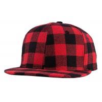 Buy cheap Cotton Straight Brim Baseball Cap , Plaid Black And Red Baseball Cap Men / Women from wholesalers