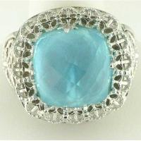 Buy cheap stainless steel casting ring with aquamarine gem LRX21 from wholesalers