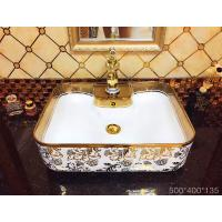 Buy cheap Bathroom square one hole Golden ceramic table top  wash hand basin from wholesalers