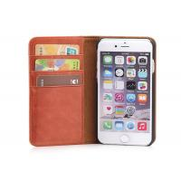 Buy cheap Brown iPhone 6 6S Genuine Leather Case , Waterproof Flip Book Cover Design from wholesalers