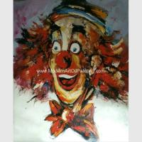 Buy cheap Red Palette Knife Paintings On Canvas Abstract Comedy Clown For Companies Clubs from wholesalers