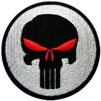 Buy cheap Punisher Red Eyes Skull Seal Navy Sniper Paintball Guns Embroidered Iron on Patch from wholesalers