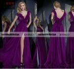 Buy cheap AH2458 Elegant A-line Purple Chiffon Deep V-neck Sleeveless Side Slit Cheap Evening Dresses from wholesalers
