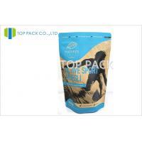 500g Custom Print Kraft Paper Stand Up Pouch Resealable Healthy Food Zipper