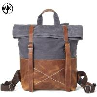 Buy cheap new design backpack men vintage retro canvas travel shoulder bag waterproof oil wax canvas business bag leather man from wholesalers