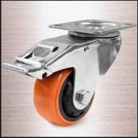 Buy cheap 100mm Heavy-duty Thread Guard Total Lock Caster with Plate and Orange PU Tread from wholesalers