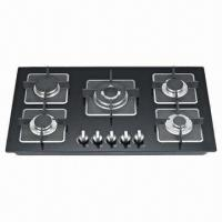 Buy cheap Gas Cooktop with 5 Burner and Auto Pulse Ignition, Black/Colorful Glass Panel for Choice from wholesalers