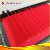 Buy cheap C Curl Red Real Mink Eyelashes Extensions 10mm PBT korea Fiber from wholesalers