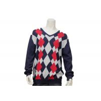 Buy cheap Argyle Mens Casual Sweater Intarsia Knitting Patterns V Neck Knitted Jumper from wholesalers