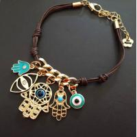 Buy cheap PRIMERO Fashion Jewelry Charm Sliver Hamsa Hand Eye of Fatima palm Woven Bracelet Rope Bracelet Hamsa hand from wholesalers