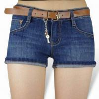 China Women's Short Jeans with Stone Wash and Turn-up, Super Short Type on sale
