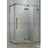 Buy cheap Red Frameless Hinged Shower Door / One Fixed Panel Square Shower Enclosure from wholesalers