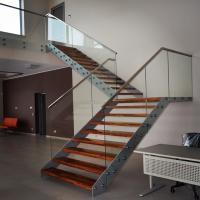 Buy cheap Double Beam Straight Staircase Design With Glass Railing and Wood Tread product