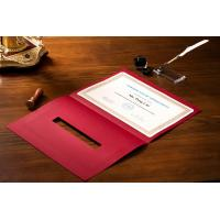 China OEM / ODM Award Certificate Covers , Chinese Red Parchment Paper Certificate Holder on sale