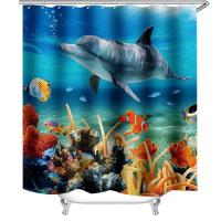 China Under Sea World Dolphins Animals Polyester Fabric Shower Curtain on sale