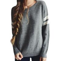 Buy cheap Trendy Crew Neck Long Sleeve Sweater , Knit Strips Boyfriend Pullover Sweaters from wholesalers