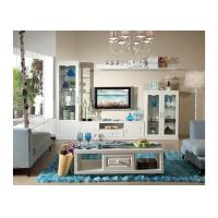 Buy cheap PVC Veneer TV Stand Curio Glass Hanging Cabinet With White Color from wholesalers