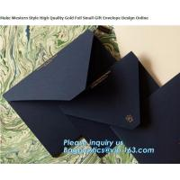 Buy cheap MAKE western style high quality gold foil gift envelope Matt black card paper envelope in A4 A5 B5 C5 C6 A3 size with cu from wholesalers