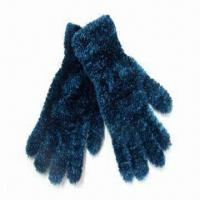 Buy cheap Fashionable Feather Yarn Knitted Ladies Winter Gloves, Made of 90% Polyester and 10% Spandex from wholesalers