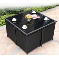 Buy cheap Outdoor Square Rattan Garden Dining Table With Glass Top Weatherproof from wholesalers
