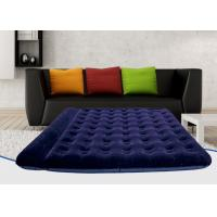 Buy cheap Foldable PVC Flocked Air Bed Luxury Dark Blue Double Inflatable Mattress Built-In Pillow from wholesalers