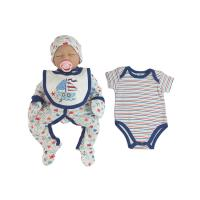 Buy cheap White Blue Just Born Baby Clothes , Newborn Baby Clothes 5pcs Bodysuit from wholesalers