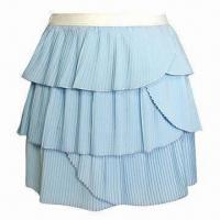 Buy cheap Sexy Summer Layered Skirt for Women with White Elastane Waistband and Light Blue Small Pleats from wholesalers