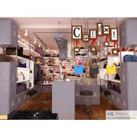 Buy cheap Female bag shop in Fashion interior design by matte grey Display cabinet and glossy iron tube racks 3000K Led light from wholesalers