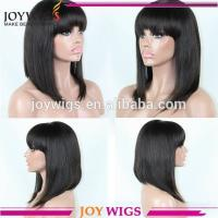Buy cheap Free Shipping Fashion Style 150 Density Lace Front Wigs Natural Black Silky Straight Human Hair Bob Wigs In Stock from wholesalers