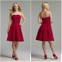 China Red Strapless Classic Style Bridesmaid Dress (BD-003) on sale