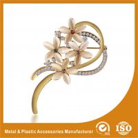 Buy cheap Decorative Handmade Gold Brooches For Dresses With Crystal Stones from wholesalers
