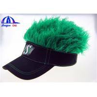 Buy cheap Black Cotton Lady's Sun Visor Hats With Green Fake Hairs And Embroidery Logo from wholesalers