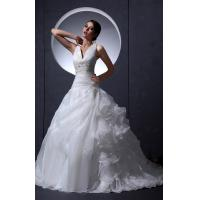 Buy cheap Girls Sexy V Neck A Line Applique Beaded Empire Line Wedding Dresses , White from wholesalers