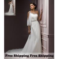 Buy cheap Free Shipping Elegant One Shoulder Chiffon Chapel Wedding Dresses from wholesalers