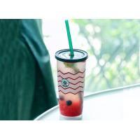 Buy cheap 360ml / 500ml 80mm Top Diameter Disposable Plastic Cups With Raised Foot Starbucks product